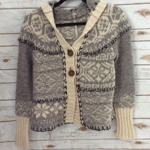 Free People Grey Nordic Hooded Cardigan Sweater SM